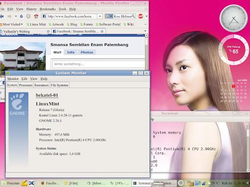 Tampilan LinuxMint dengan foto cewek