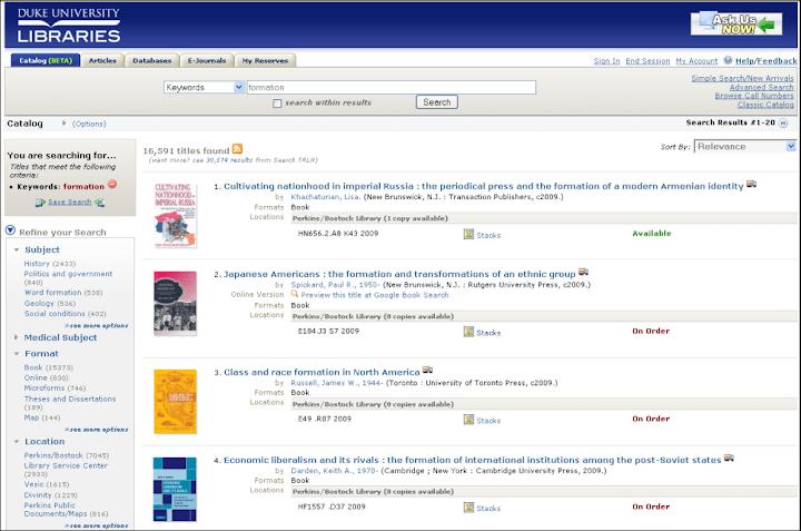 Copie d'écran Duke University Libraries avec Primo