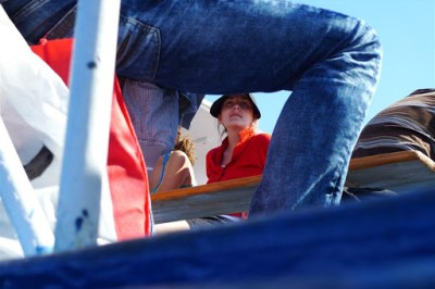 Steph, through some dudes leg, on a boat!