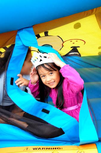 A princess enjoying her bounce house.