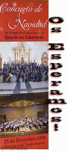 Banda Municipal y Juvenil de Música de Ejea Cartel Concierto Navideño 2008
