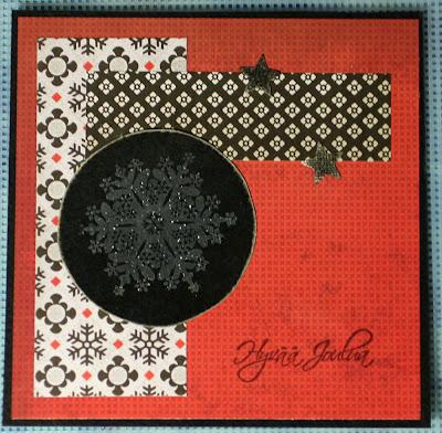 Punamusta joulukortti P*skarteluhaasteeseen nro. 60