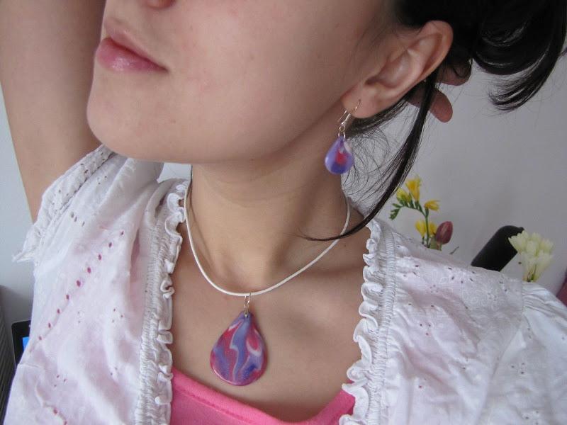 Set handmade din Fimo - lacrimi Lila