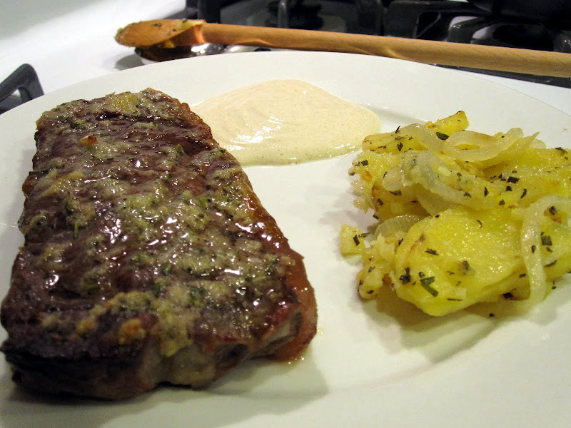 new york strip with rosemary butter and mustard steak sauce