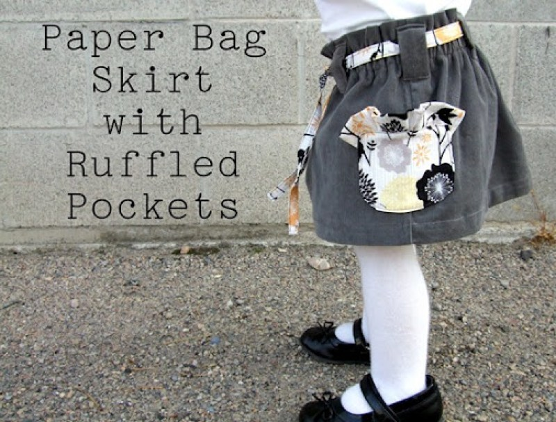 Paper Bag Skirt with Ruffle Pockets