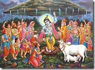 Krishna lifting Govardhan Hill