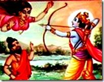 Lord Rama fighting a Rakshasi