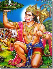 Hanuman executing devotional service