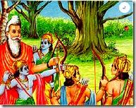 Dashratha's sons being trained by their guru