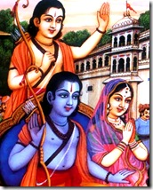 Sita, Rama, and Lakshmana departing for the forest
