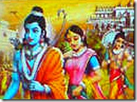Rama, Sita, and Lakshmana leaving for the forest