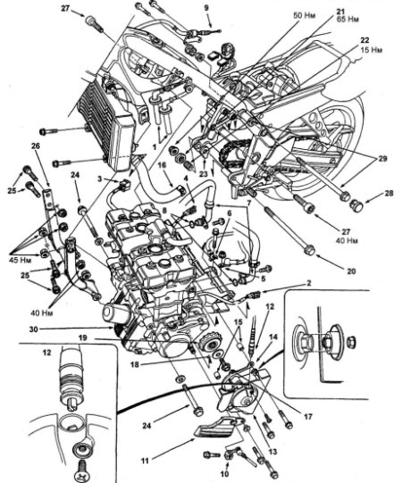 Honda CB400F(CB1) engine diagram :: Engine Diagram