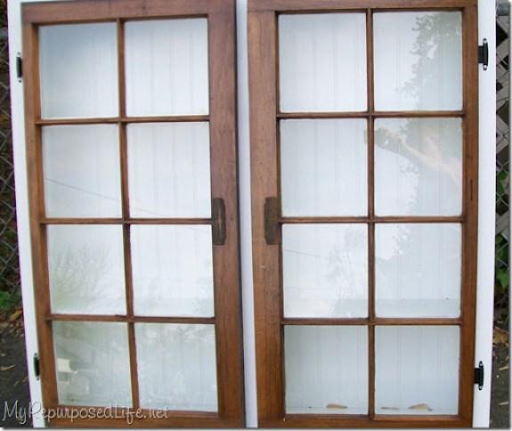 repurposed window into cabinet MyRepurposedLife.com