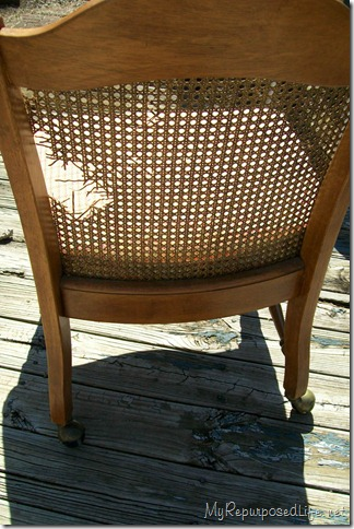 broken caned chair