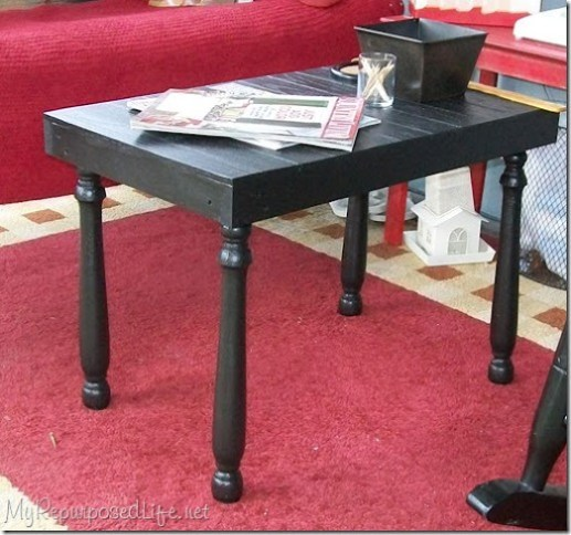 black side table for porch made from scraps