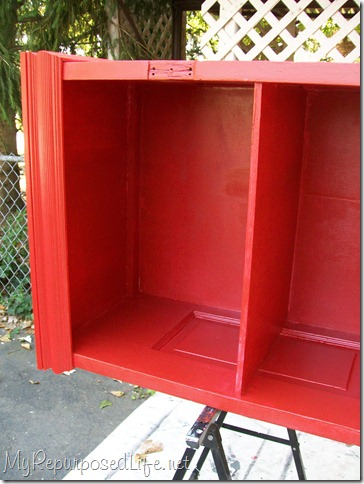 red door makes a great bookcase