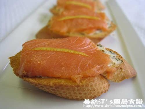 煙三文魚忌廉芝士多士【除夕派對小吃】 Smoked Salmon and Cream Cheese Toasts | 簡易食譜 - 基絲汀: 中西各式家常菜譜