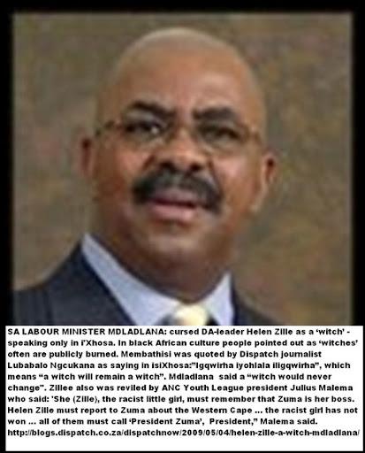 AntiAfrikanerHatespeechLABOUR_minister Mdladlana Membathisi called Zille a witch