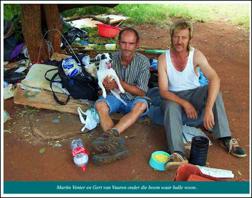 AfrikanerPoor Martin Venter Gert van Vuuren live underneath this tree Squatter camp Eagles Nest Pretoria