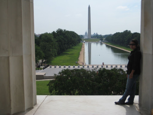 Naheed with a View of the reflecting pool, Capital and Lincon Memorial