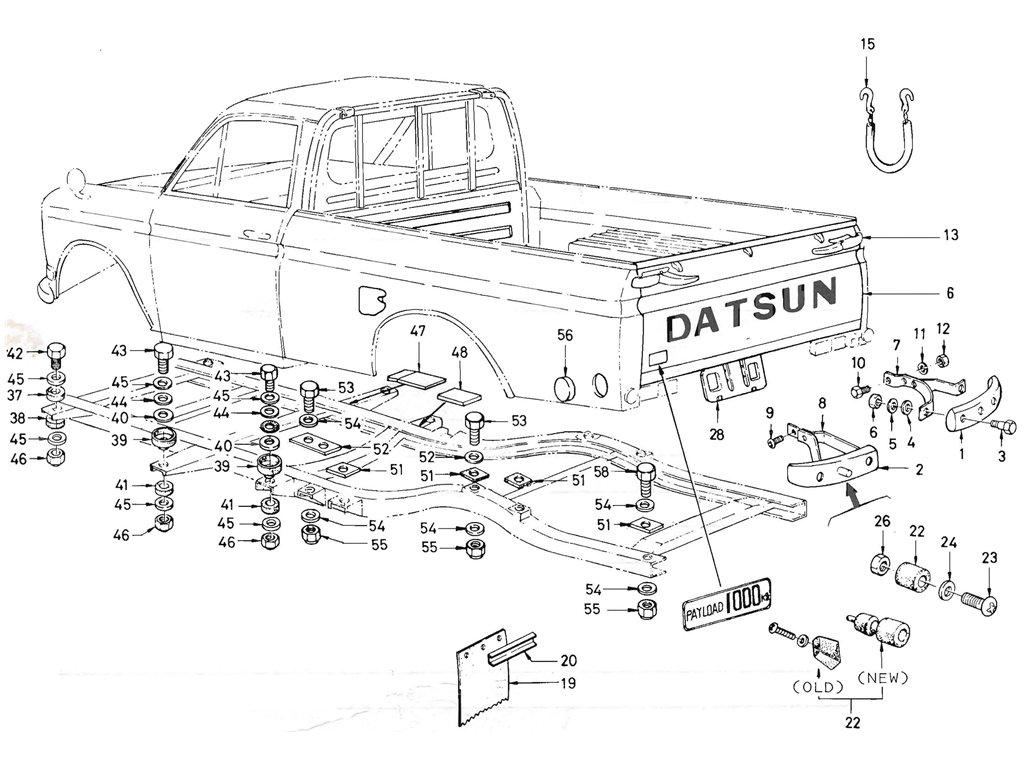 Datsun Pickup 520/521 Body Mounting
