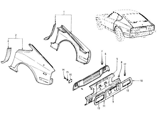 Datsun 240Z Rear Fender, Rear Panel & Rear Panel Finisher