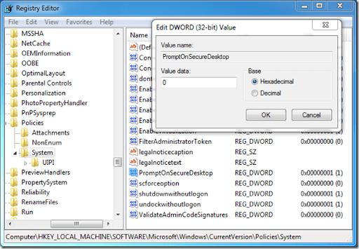 UAC - DisablePromptSecureDesktopRegistry