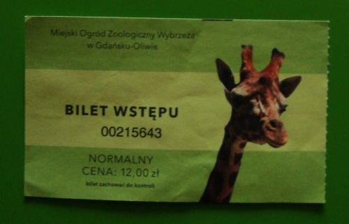 Bilet wstępu do oliwskiego zoo