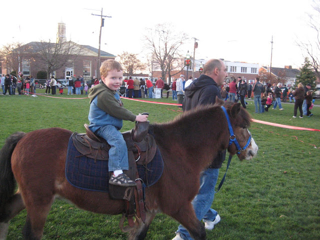 Pony ride during winter fair on Stoneham Town Common