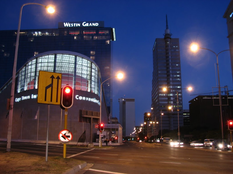 The Westin Grand and the Convention Centre at night