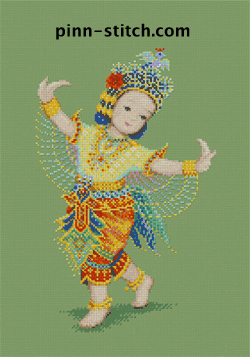 cross-stitch kit of thai dancer