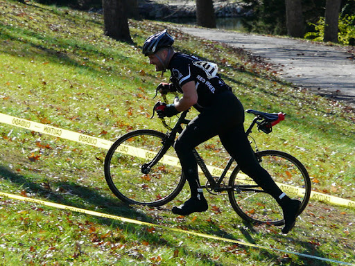 Bob's run up at a Cyclocross race