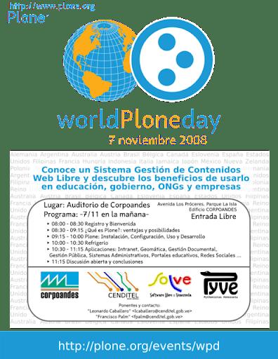 Afiche del I Día Mundial de Plone en Mérida