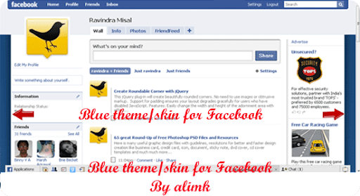 Blue theme/skin for Facebook