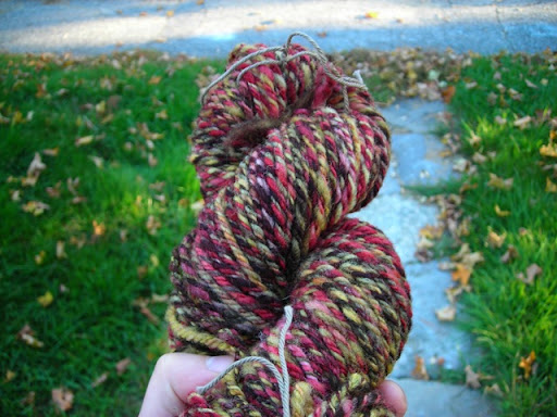 hand-dyed hand spun Jacobs fleece