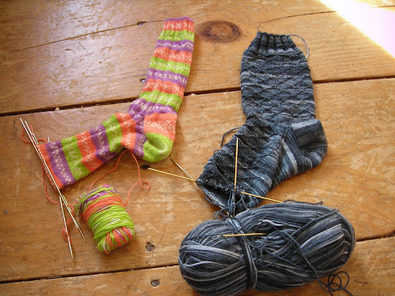 Oak Ribbed Socks and Lozenge Pattern Gentlemans Socks (Nancy Bush)