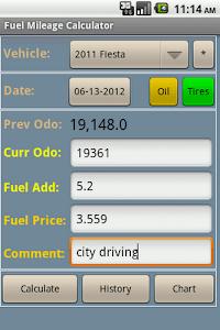 Fuel Mileage Calculator screenshot 1