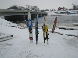 The drop skis... in the snow.