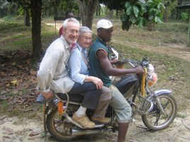 Ted and Glenys trying out the local transport