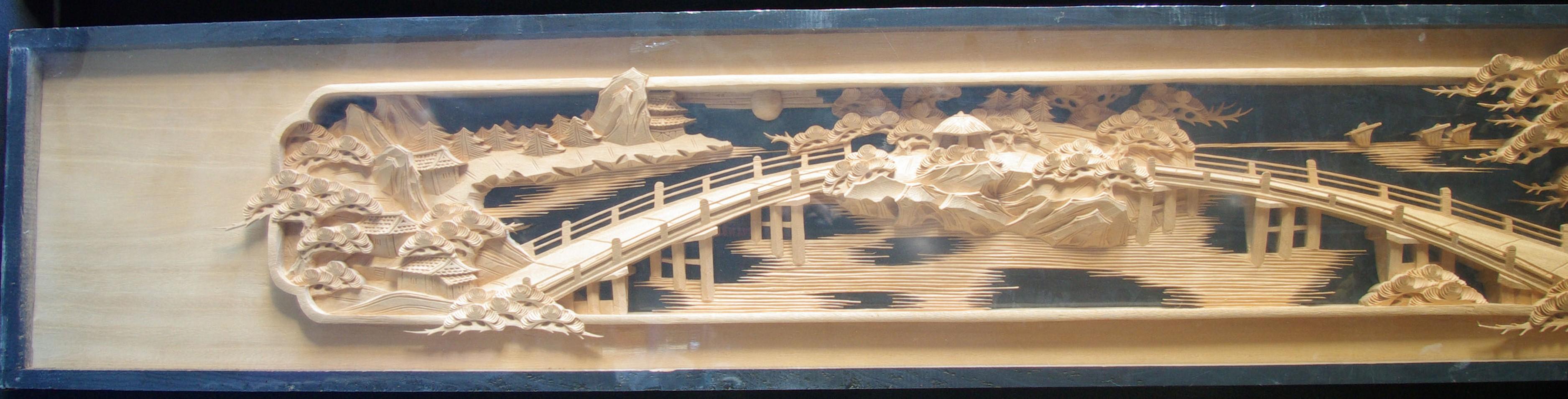 彫刻欄間の高原銘木店 > 0-99 > 0013 近江八景 7.5尺×1尺1寸×2寸 特上両面彫(桐)