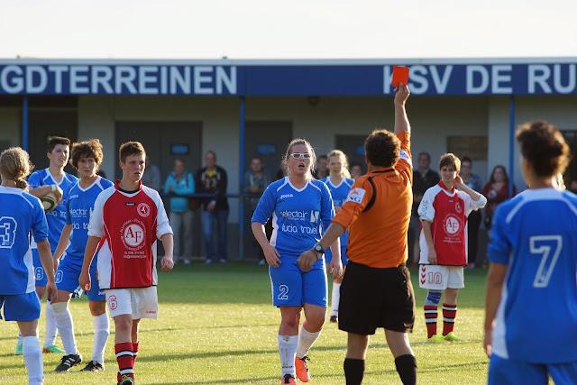 rode kaart voor Xena Declercq en Lisa Ruysschaert