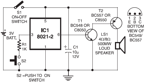 Ding Dong Door Bell Circuit Design using 8021-2 IC ~ ALL