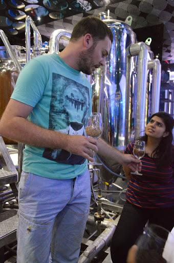 Martin explaining brewing process