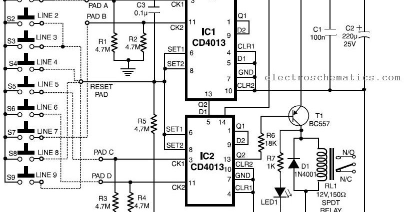 simple combination lock circuit schematic