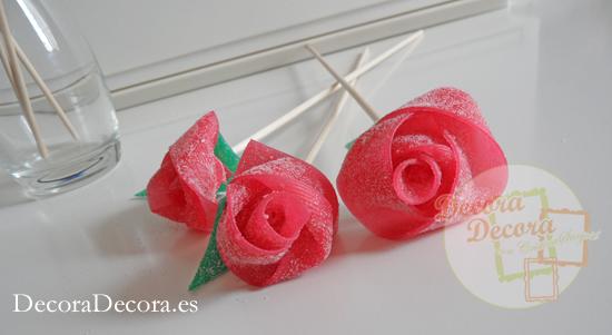 cómo hacer rosas de gominola.