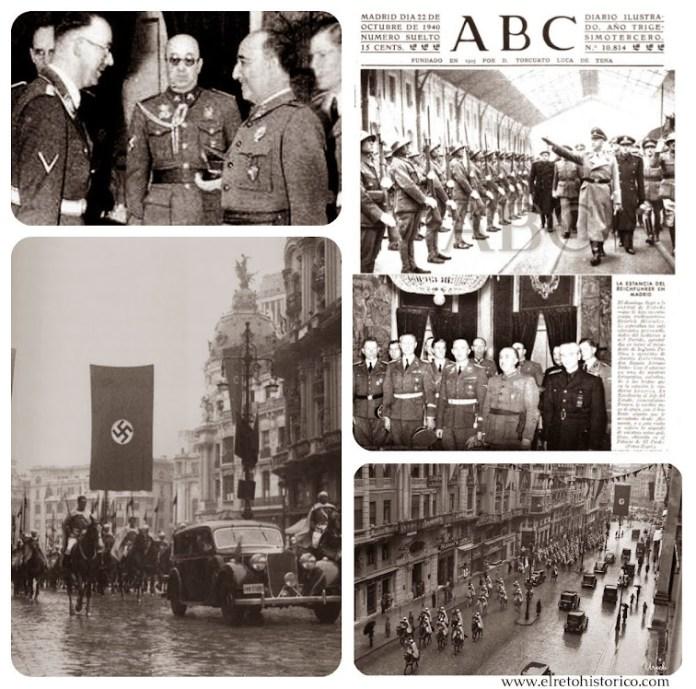 Recepción de Himmler en Madrid// Imágenes de la recepción del nuevo embajador Alemán en 1943 con la guardia mora. (para hacerse una idea de como estaría la Gran Vía ese día)