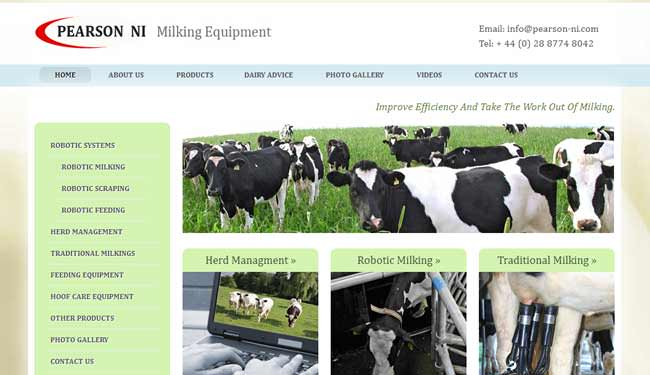Pearson NI Milking Equipment web design