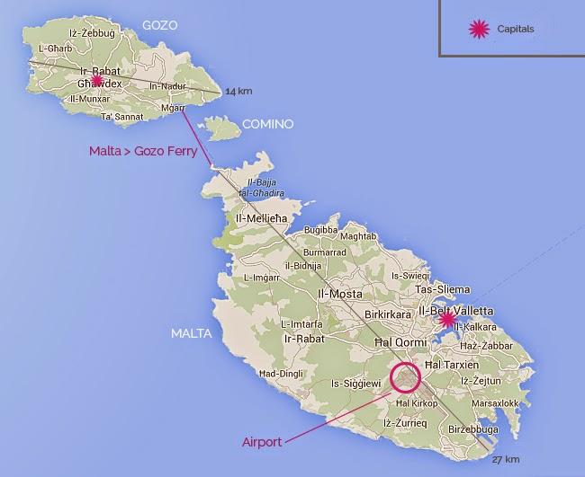 Map of Malta and Gozo.
