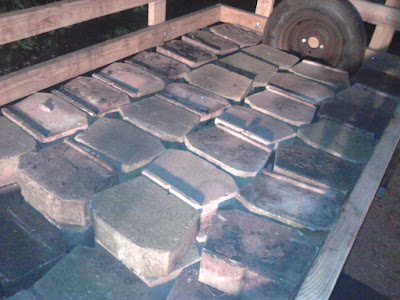 One of two trailer loads of free retraining wall blocks found on freecycle