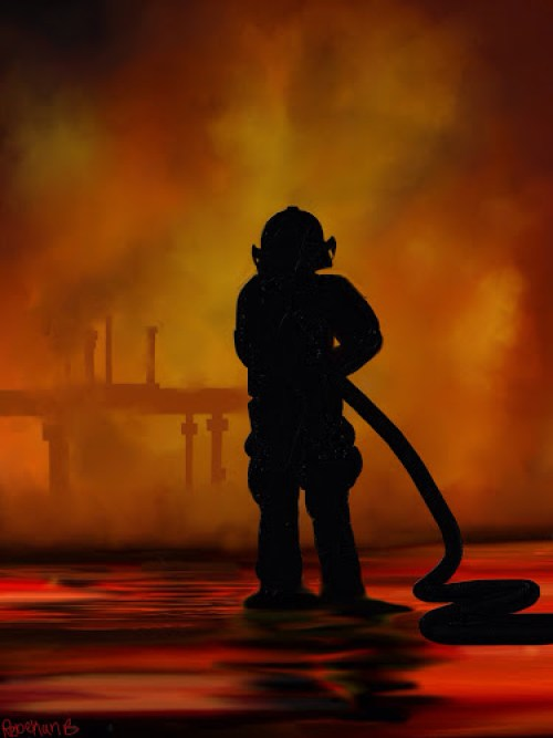 A photo of a lone firefighter doing his job amidst the flame and heat